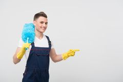 Janitor depriving you from dirt Stock Photo