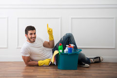 Janitor depriving you from dirt Royalty Free Stock Images