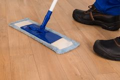 Janitor mopping Obrazy Royalty Free