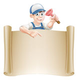 Janitor or plumber and scroll Stock Images