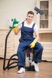Janitor pozbawia ciebie od brudu Zdjęcia Royalty Free