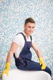 Janitor pozbawia ciebie od brudu Obraz Stock