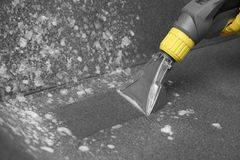 Janitor removing dirt from sofa with upholstery cleane. R, closeup stock photo