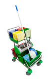 Janitor's cart. Isolated over white. Clipping path included Royalty Free Stock Photos