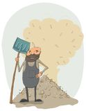 Janitor with a shovel. The Janitor with a shovel on the background pile of leaves - vector illustration. This file needs an EPS10 or later compatible software Stock Photography