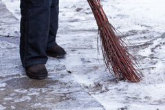 Janitor sweeping. Stock Photography