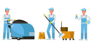 Free Janitor Vector Character Design. Presentation In Various Action. No3 Stock Photos - 199152023