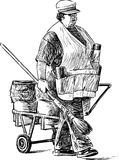 Janitor. Vector drawing of a woman janitor on a city street Stock Photos