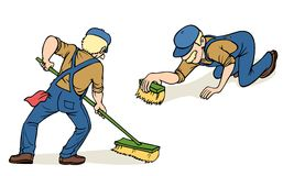 Janitor At Work. Scandinavian man cleaning the floor, two poses Royalty Free Stock Photo