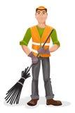 Janitor z miotłą również zwrócić corel ilustracji wektora Obraz Stock