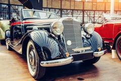 Janitors car. Beautiful retro style transport exhibition Stock Photos
