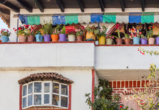 Janitzio flower pots. A row of colorful flowerpots in an old house's balcony in Janitzio, Mexico stock photography