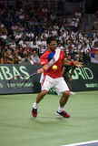 Janko Tipsarevic-1. BELGRADE,SERBIA-SEPTEMBER 16:Player J.Tipsarevic(SRB) return a ball during a match against Del Potro(ARG) during semifinal Davis Cup Serbia Royalty Free Stock Image