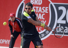 Janko Tipsarevic. ATP Tennis player Janko Tipsarevic pictured in action during his  ATP 250 tournament BRD Nastase Tiriac Trophy game against Thomas Fabbiano Stock Image