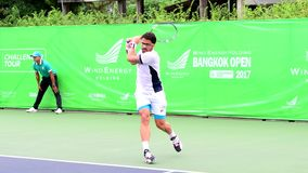 Janko Tipsarevic of Serbia winner in Wind Energy Holding Bangkok Open 2017 stock video footage