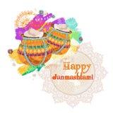 Janmashtami feliz Dahi indiano HANDI do fest em Janmashtami, comemorando o nascimento de Krishna Fundo abstrato da aguarela Imagem de Stock