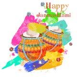 Janmashtami feliz Dahi indiano HANDI do fest em Janmashtami, comemorando o nascimento de Krishna Fundo abstrato da aguarela Imagens de Stock Royalty Free