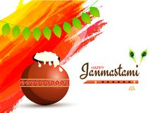 Janmashtami festival background decorated with brown pot, flute. Bansuri and traditional mango leaves garland Toran Royalty Free Stock Photo