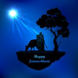 拉达和克里希纳在Janmasthami夜 免版税库存图片
