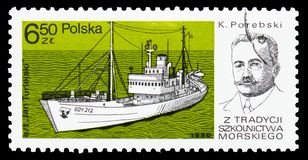 Jann Turlejski, K. Porebski, Training ships serie, circa 1980. MOSCOW, RUSSIA - OCTOBER 6, 2018: A stamp printed in Poland shows Jann Turlejski, K. Porebski royalty free stock photography