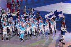 Janne Ahonyen carrying the flag of Finland leading the Finnish Olympic team at the PyeongChang 2018 Winter Olympic Games. PYEONGCHANG, SOUTH KOREA - FEBRUARY 9 Stock Photos