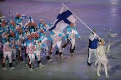 Janne Ahonyen carrying the flag of Finland leading the Finnish Olympic team at the PyeongChang 2018 Winter Olympic Games. PYEONGCHANG, SOUTH KOREA - FEBRUARY 9 Royalty Free Stock Photo