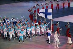 Janne Ahonyen carrying the flag of Finland leading the Finnish Olympic team at the PyeongChang 2018 Winter Olympic Games Royalty Free Stock Images