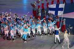 Janne Ahonyen carrying the flag of Finland leading the Finnish Olympic team at the PyeongChang 2018 Winter Olympic Games. PYEONGCHANG, SOUTH KOREA - FEBRUARY 9 Stock Image