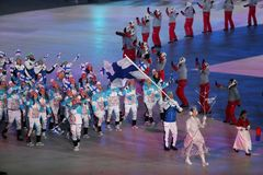 Janne Ahonyen carrying the flag of Finland leading the Finnish Olympic team at the PyeongChang 2018 Winter Olympic Games. PYEONGCHANG, SOUTH KOREA - FEBRUARY 9 Stock Photography