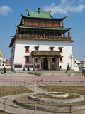 Janraisig Datsan at the Gandan Monastery. The Gandantegchinlen Khiid Monastery, commonly known as Gandan Monastery, is a Tibetan-style monastery in the Mongolian stock photography
