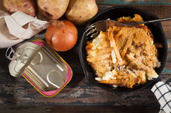 Jansson`s frestelse. Jansson`s frestelse Janssons temptation is a Swedish gratin style dish made from potatoes, onion and sprats. Often served on special Royalty Free Stock Images
