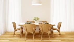 Jantar ajustado no projeto mínimo da sala branca - rendição 3D Fotografia de Stock Royalty Free