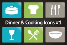 Jantar & cozimento do ícone #1 ajustado do vetor Imagens de Stock