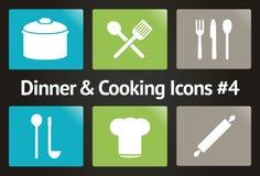 Jantar & cozimento do ícone #4 ajustado do vetor Foto de Stock