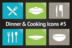 Jantar & cozimento do ícone #5 ajustado do vetor Foto de Stock Royalty Free