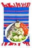 Jantar com peixes fritados Imagens de Stock