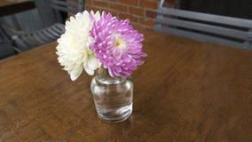 Jantar cor-de-rosa branco do almoço da tabela do restaurante do arranjo de flor fotografia de stock