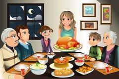 Jantar da família da acção de graças ilustração royalty free
