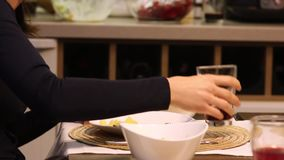 Jantar da família Mesa de jantar, close-up filme