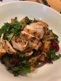 Jantar da galinha com couve e vegetais de raiz fotografia de stock
