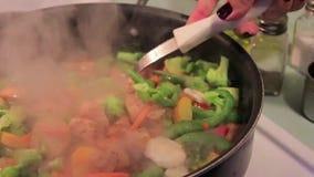 Jantar da galinha e dos vegetais vídeos de arquivo