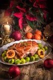 Jantar de Natal com as couves de Bruxelas no molho alaranjado Fotografia de Stock