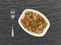 Jantar de tevê do peito de peru com enchimento e vegetais Fotografia de Stock