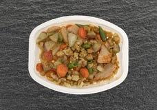 Jantar de tevê do peito de peru com enchimento e vegetais Imagem de Stock
