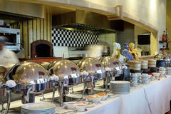 Jantar do bufete no restaurante foto de stock royalty free