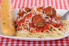 Jantar do espaguete e do Meatball fotografia de stock