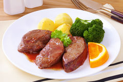 Jantar do fígado do cordeiro Foto de Stock