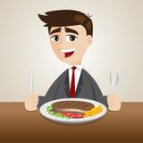 Jantar do homem de negócios dos desenhos animados com bife Imagens de Stock Royalty Free