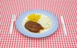 Jantar do molho do bife de Salisbúria no tabuleiro de damas vermelho imagem de stock royalty free