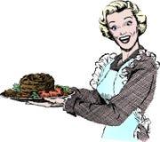 Jantar do serviço da mulher dos anos 50 do vintage Imagens de Stock Royalty Free